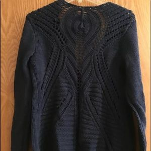 Soft Surroundings NAVY Knit BOHO CARDI SWEATER